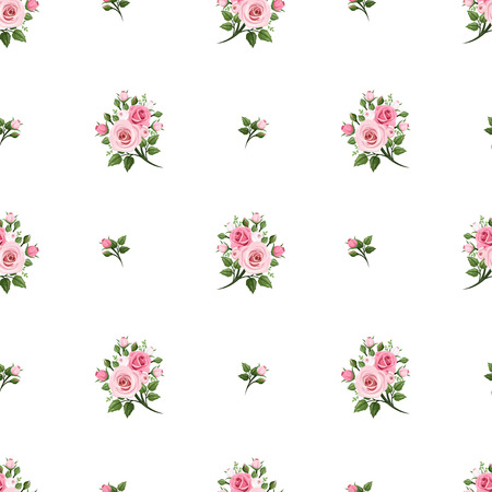 Seamless pattern with pink roses  Vector illustration