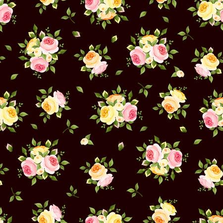 rosas naranjas: Patrón sin fisuras con las rosas rosadas, anaranjadas y amarillas en la ilustración vectorial de color marrón
