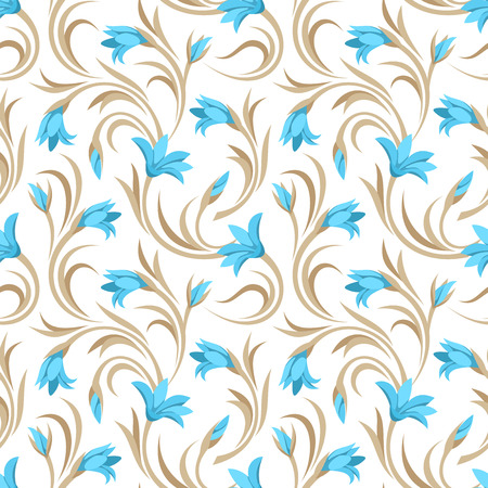 Seamless pattern with blue gladiolus flowers  Vector illustration  Vector