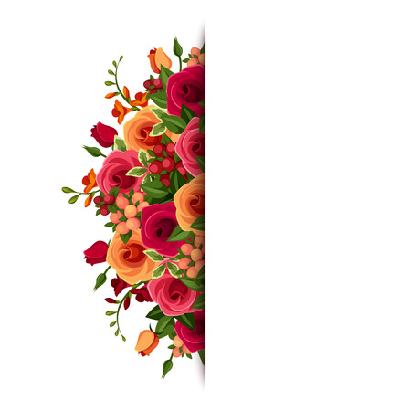 Background with roses and freesia flowers   Illustration