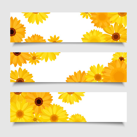 orange gerbera: Three vector banners with orange and yellow gerbera flowers  Illustration