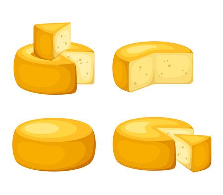 白で隔離されるチーズの車輪のセット