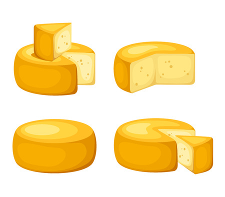 Set of cheeses wheels isolated on white