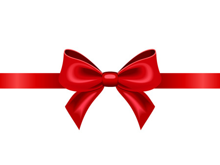 Red ribbon with bow  Vector illustration  Иллюстрация