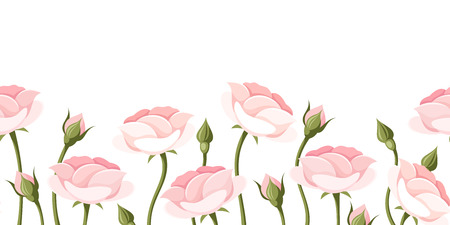 bud: Horizontal seamless background with pink roses  Vector illustration  Illustration