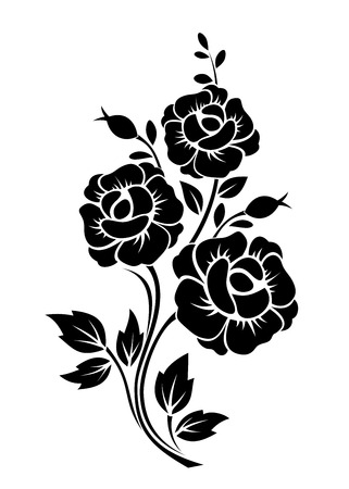 outlines: Branch with flowers  Vector black silhouette