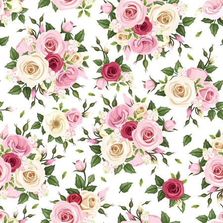 english rose: Seamless pattern with red, pink and white roses  Vector illustration