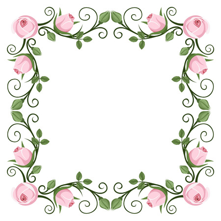 Vintage calligraphic frame with pink roses Vector illustration