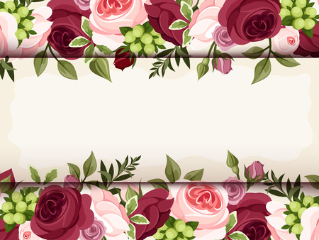 burgundy: Invitation card with red and pink roses  Vector eps-10