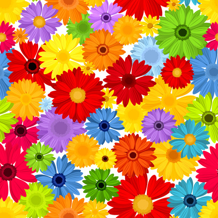 Seamless pattern with colorful gerbera flowers  Vector illustration  Vector