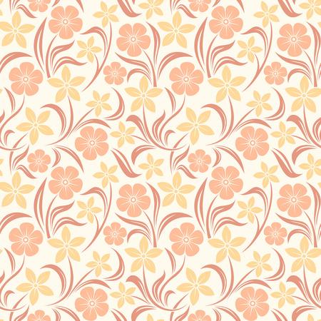 bedclothes: Seamless orange floral pattern  Vector illustration