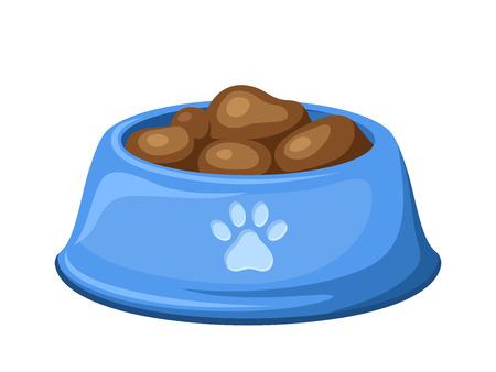 dog food: Blue dog bowl with feed  Vector illustration