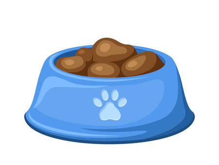 Blue dog bowl with feed  Vector illustration