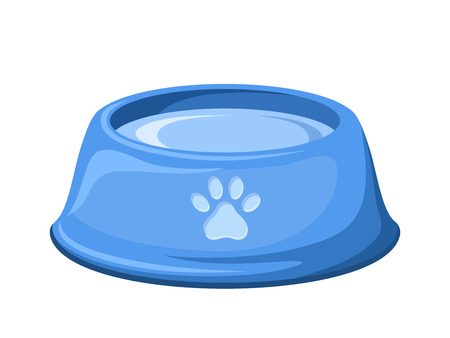 Blue dog bowl with water  Vector illustration  Vector