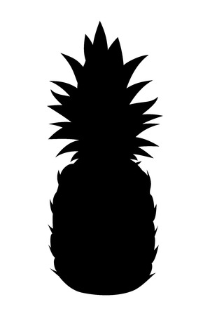 pineapples: Black silhouette of pineapple on a white background  Illustration
