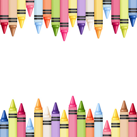 Horizontal seamless background with colorful crayons illustration
