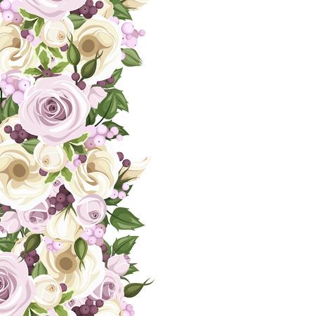 english rose: Background with roses and lisianthus flowers  illustration  Illustration