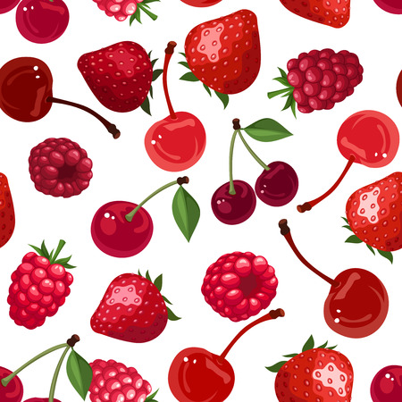 raspberry pink: Seamless background with various berries illustration