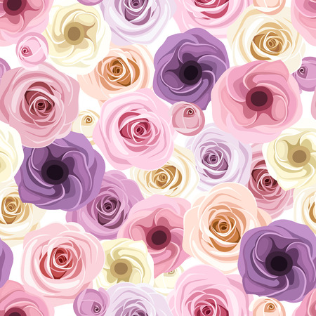 tea rose: Seamless background with roses and lisianthus flowers