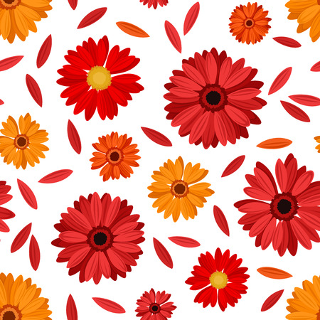 orange gerbera: Seamless pattern with red and orange gerbera flowers and petals illustration  Illustration