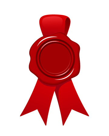 sealing wax: Red wax seal with ribbon isolated on white