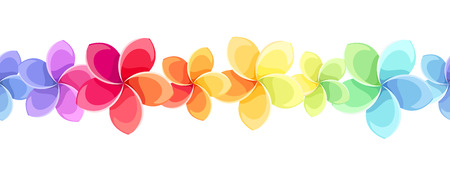 Horizontal seamless background with colorful flowers   Vector