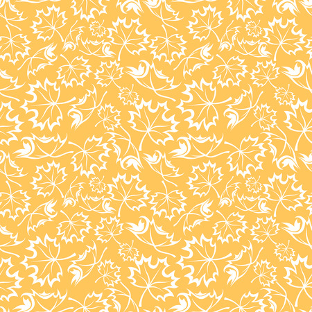 orange pattern: Seamless orange pattern with maple leaves illustration