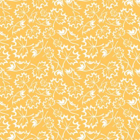 Seamless orange pattern with maple leaves illustration
