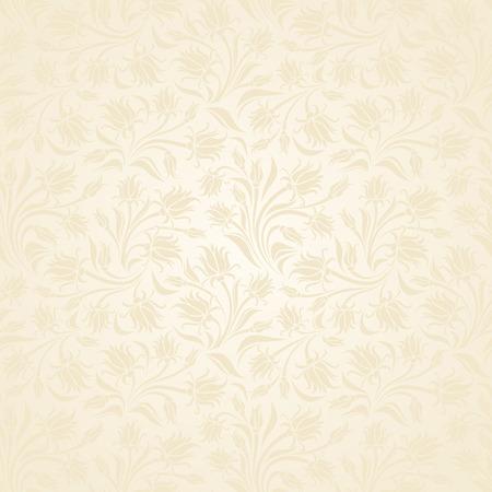 ivory: Seamless beige floral pattern illustration