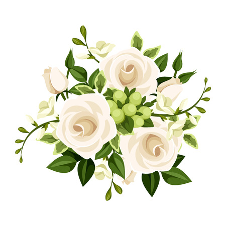 bouquet  flowers: Bouquet of white roses and freesia flowers illustration