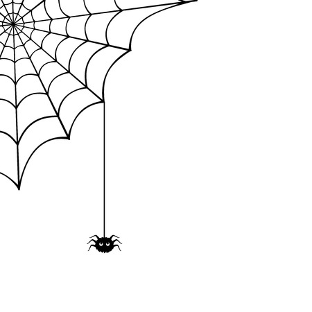 spooky: Spider web and spider illustration