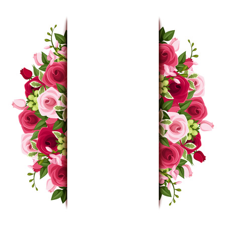 Background with red and pink roses and freesia flowers   Vectores
