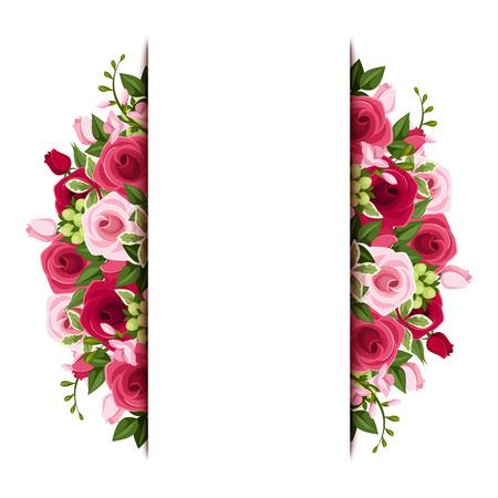 Vertical: Fondo con las rosas rojas y rosadas y las flores del freesia