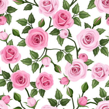 Seamless pattern with pink roses  Vector illustration  Vector
