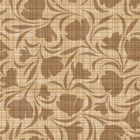 Floral pattern on a sacking background  Vector seamless background