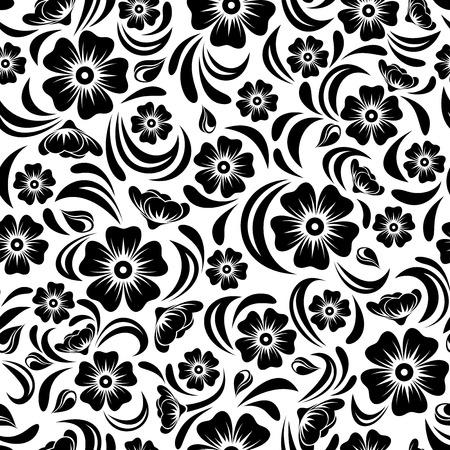 Seamless vintage black floral pattern  Vector illustration  Vector