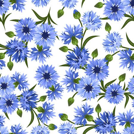 Naadloze patroon met blauwe korenbloemen Vector illustratie