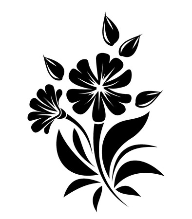 Black silhouette of flowers  Vector