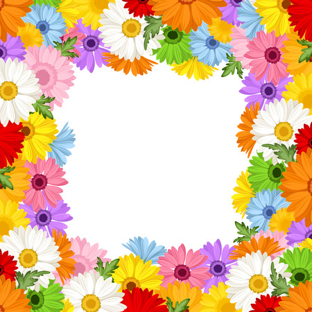 Vector frame with colorful gerbera flowers
