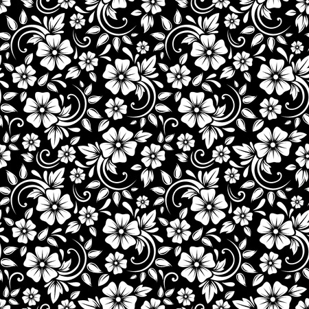 Vintage seamless white floral pattern on a black background  Vector illustration
