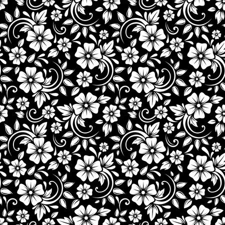 flower white: Vintage seamless white floral pattern on a black background  Vector illustration