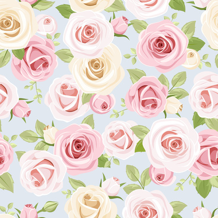 english rose: Seamless pattern with pink and white roses on blue  Vector illustration