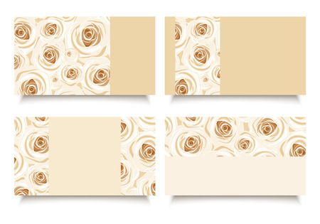 ivory: Business cards with white roses  Vector