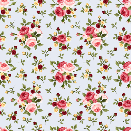 gardens: Vintage seamless pattern with pink roses on blue  Vector illustration