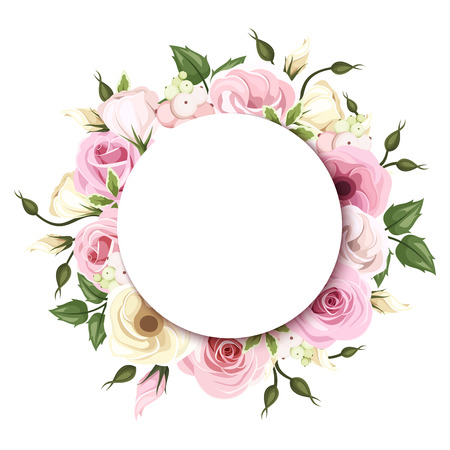 Background with pink and white roses and lisianthus flowers