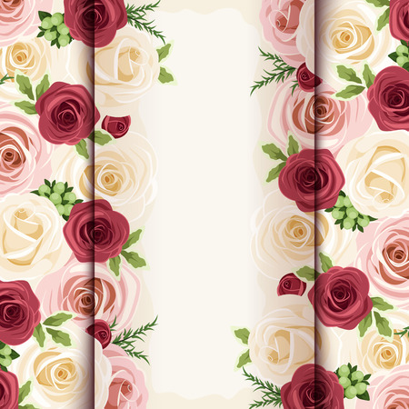 claret red: Invitation card with red, pink and white roses