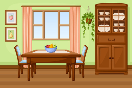 interior window: Dining room interior with table and cupboard  Vector illustration