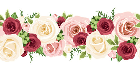 Horizontal seamless background with red, pink and white roses  Vector illustration Illusztráció