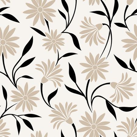 Naadloos patroon met beige bloemen en zwarte bladeren Vector illustratie