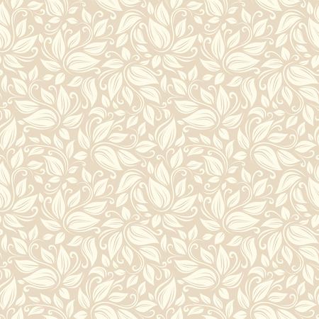 Seamless beige floral pattern  Vector illustration Ilustrace